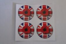 "12 POPPY STICKERS CROWN GREEN BOWLS  REMEMBRANCE DAY   1""  LAWN BOWLS"