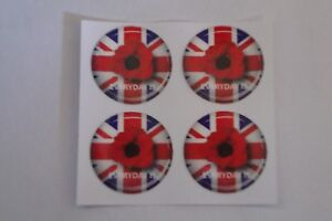 """16 POPPY STICKERS CROWN GREEN BOWLS  REMEMBRANCE DAY   1""""  LAWN BOWLS"""
