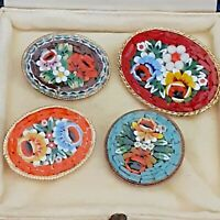4 X Beautiful Vintage Italian Orange Red Flower Micro Mosaic SMALL Brooches Pins