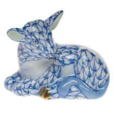 HEREND MINIATURES, CALF PORCELAIN FIGURINE, BLUE FISHNET, RETAIL $175
