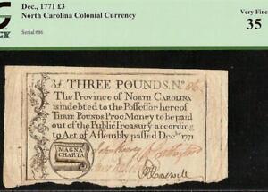 1771 MAGNA CHARTA No 86 NORTH CAROLINA COLONIAL CURRENCY NOTE MONEY NC-142 PCGS