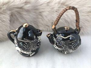 Ceramic Salt & Pepper Shakers Japanese tea pots 3D dragons