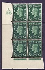 1937 ½d Green Dark colours C38 43 Dot perf 5(E/I) state i Unmounted Mint/Mnh