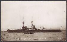 Royal Navy Postcard. Battleship HMS Bellerophon at Anchor, Awnings Rigged. RPPC