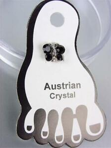 ADORABLE Dainty Black Austrian Crystal BUTTERFLY Invisible PETITE Toe Ring