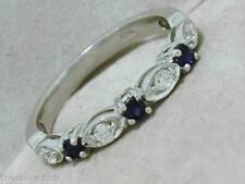 R103- Genuine 18K WHITE Gold NATURAL DIAMOND Sapphire Eternity Anniversary Ring