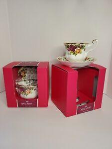 2 Sets Royal Albert Bone China England Old Country Roses Tea Cup and Saucer NIB