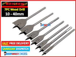 """7PC Flat Spade Head Wood Drill Bits Set with Hex End 1/4"""" 10 - 40mm Tool CT1799"""