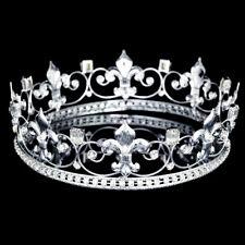 "Men's Silver Fleur De Lis Rhinestones Crystal 2.25"" Tall Full King Crown 81031"