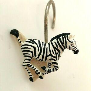 Lot of 9 Zebra Shower Curtain Hooks Rings Decorative