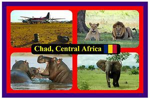 Chad, Centrale Africa - Souvenir Novità Calamita Frigo - Viste /Bandiere/Regali