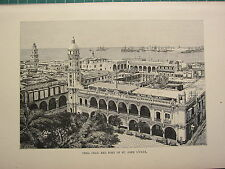 c1890 ANTIQUE PRINT ~ VERA CRUZ & FORT OF ST. JOHN D'ULUA