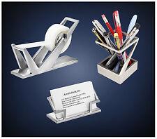 2ArtsOnDesk Modern Art Desk Accessory 3-pc Set St2 Stainless Steel Satin Finish