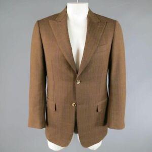 PAL ZILERI US 40 / IT 50 Light Brown Windowpane Wool Peak Lapel Sport Coat