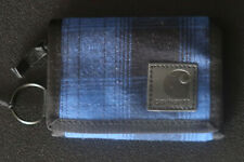 CARHARTT TRI-FOLD WALLET WITH COIN SECTION BLUE & BLACK CHECK COTTON A CLASSIC