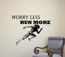 Worry Less Run More Wall Decal Runner Gym Quote Vinyl Sticker Fitness Decor 585