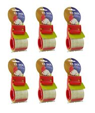 """6 pack of 2"""" Plastic Mini Hand Tape Dispenser With 800"""" of 2"""" Crystal Clear Tape"""