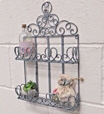 Vintage French Style Wall Metal Shelf Unit Cabinet Storage Shabby Chic Bathroom