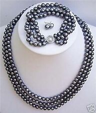 """New 3 rows 6-7mm Natural black pearl necklace 17-19"""" bracelet earrings 7.5""""set"""