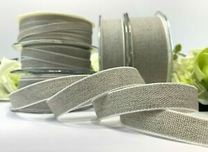 Linen Ribbon Natural Rustic Wedding Tape Unbleached Book Bind Woven Edge 5 Sizes