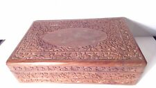 """VINTAGE  HAND CARVED WOODEN jewelry cigar DESK BOX W/ BRASS INLAY 13"""" long"""