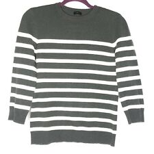 Joseph Sailor Stripe Cashmere Sweater Zipper Collar Women's Medium Khaki Ivory