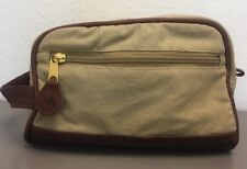 Vintage New Camel Cigarette Canvas And Leather Toiletry Shaving Mens Travel Bag