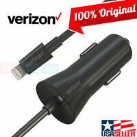 Verizon LOGO 12W Car Charger Coiled Apple Lightning Cable for iPhone 11/X/XS/8/7