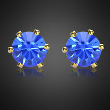 Fashion Jewelry Lady Round Cut Blue Sapphire Yellow Gold Plated Stud Earrings Nr