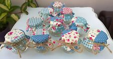 Juego de 10 Mini Tarros mermelada Shabby Chic Boda Favores Azul Vintage Patchwork Rosa