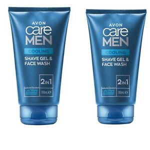 2x Avon Care Active Men Cooling 2-in-1 Shave Gel & Face Wash-150ml(300ml)