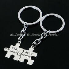 Silver Best Friends BFF Charm Puzzle Pendant  Keyring Keyfob Keychain Gifts Xmas