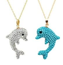 Two Solid Crystal Dolphin Pendants With Swarovski Elements in 14K Gold,MSRP $400