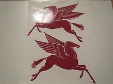 MOBIL PEGUSAS PEGASUS HORSE DECALS STICKERS LEFT AND RIGHT PAIR NEW 8 INCH RED