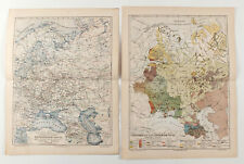 1900s Imperial Russian Ethnographic and Isothermal MAP of European Russia 2 MAPS