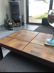 Handmade Industrial 'Cantilever' Side Table - Reclaimed Oak Parquet Dancefloor