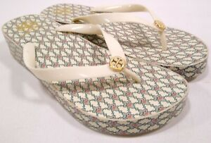 Tory Burch Sandals Wedge Flip Flops Womens Size 10.5/11 Ivory Floral Print