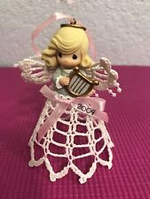 Precious Moments Ornament Graced With Lace Hanging Ornament Avon Girl/Harp 2004