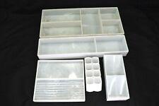 Vintage Vanity Makeup White Plastic Organizer 5 Piece Tray Set