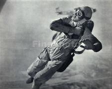 1935 Vintage SKYDIVING Aviation SKY DIVING Photo Art PENNEBAKER 11x14 Frame Rdy