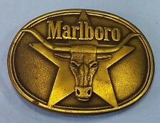 Vintage Solid Brass Marlboro Belt Buckle 1987 Phillip Morris, Inc.