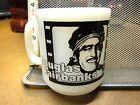 DOUGLAS FAIRBANKS white glass vtg mug RUDOLPH VALENTINO film-strip milk cup '50s