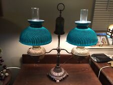 Awesome Antique Double Green Case Glass Convert Oil>Electric Student Desk Lamp