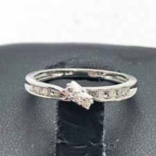 Elegant Sterling Silver 925 Petite Descending CZ Pave Bail Cocktail Band Ring 7