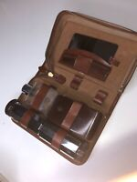 vintage mens barber tool set leather case