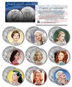 SEX SYMBOLS of the 1950s JFK Half Dollar 9-Coin Set Monroe Hayworth Lana Turner