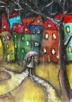 ACEO abstract umbrella rain city street original painting watercolor art card