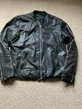 All Saints COLLIDE Leather Jacket SHIRT Black Size XL Slim Fit, Fits Large