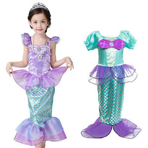 Kids Baby Girls Princess Dresses Little Mermaid Ariel Dress Up Party Costume