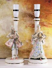 Pair of Table Lamps Italian Vintage Figural 1960s Porcelain Kitsch Shabby Chic